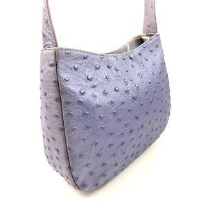 90's metallic lavender leather ostrich mini bag